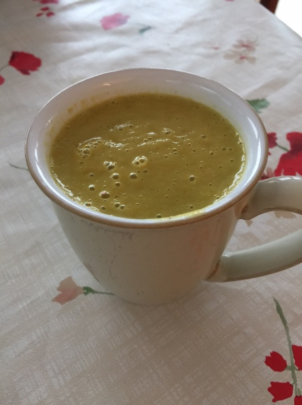 A mug of gold...this version was spinach-free. Using spinach makes the soup a bit darker.